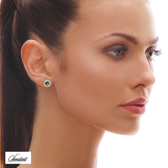 Silver (925) elegant round earrings with emerald zirconia