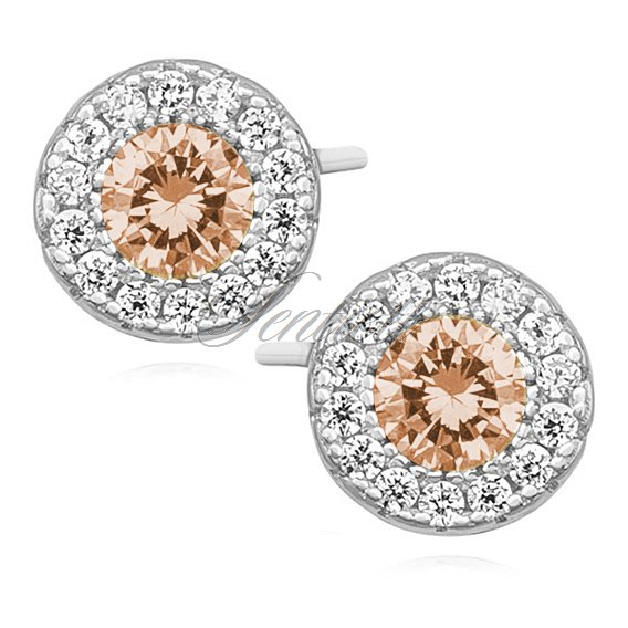 Silver (925) elegant round earrings with light topaz zirconia