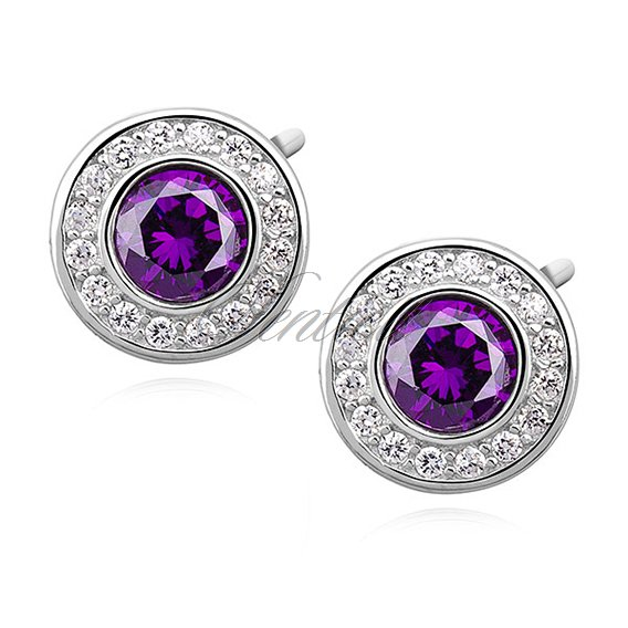 Silver (925) elegant round earrings with violet zirconia