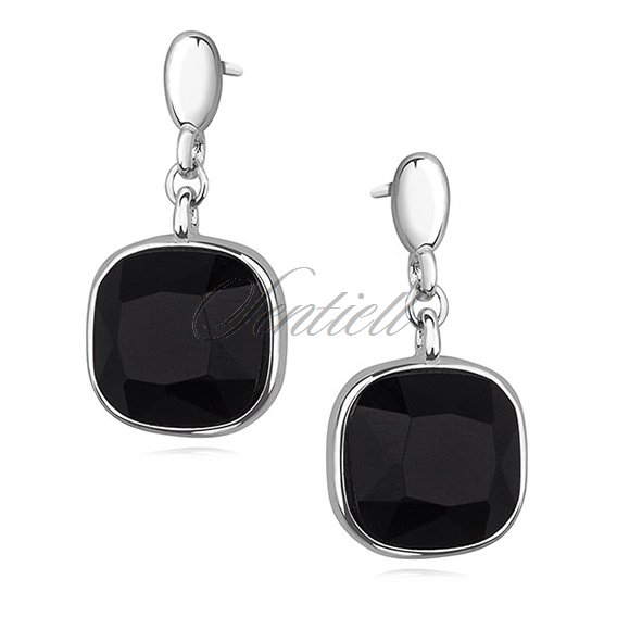 Silver (925) elegant square earrings with black zirconia