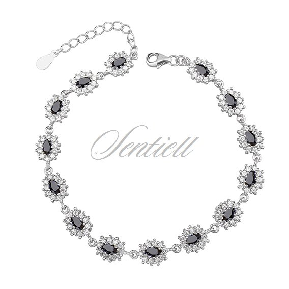 Silver (925) fashionable bracelet black zirconia