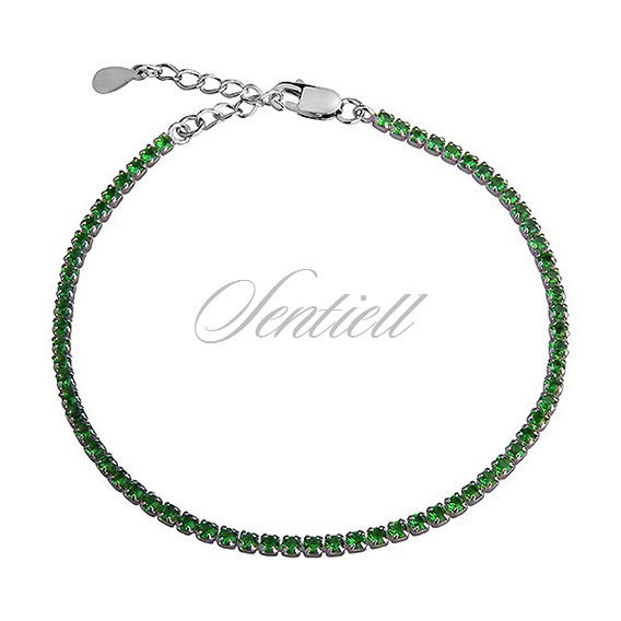 Silver (925) fashionable bracelet green zirconia