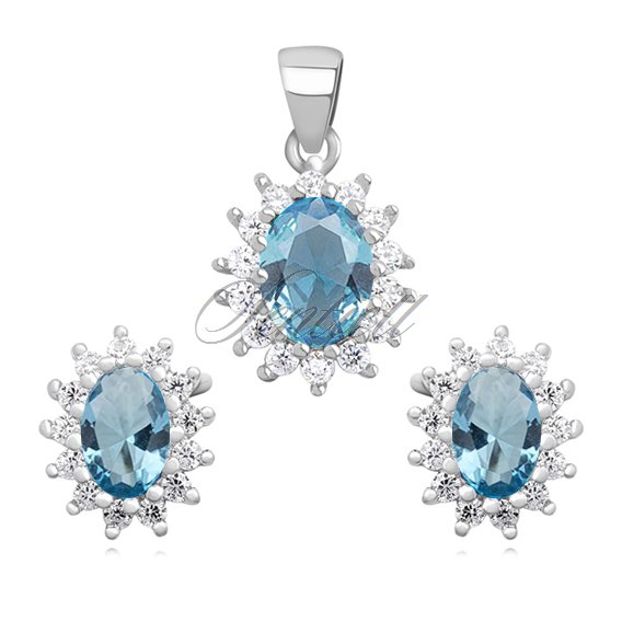 Silver (925) fashionable jewelry set with aquamarine zirconia