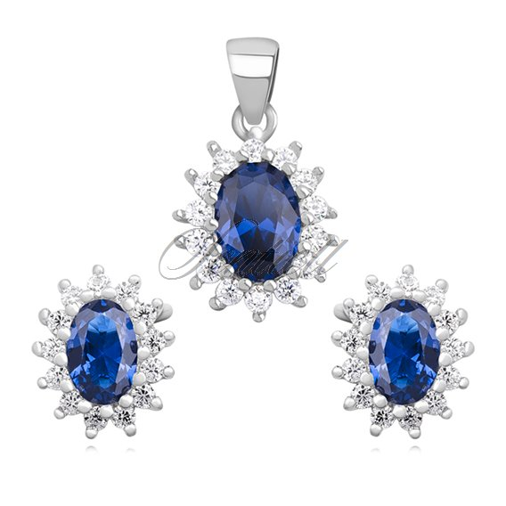 Silver (925) fashionable jewelry set with sapphire zirconia