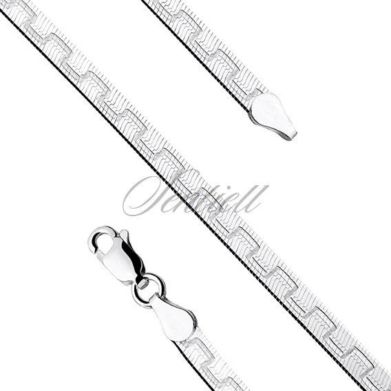 Silver (925) flat chain necklace with a pattern Ø 040