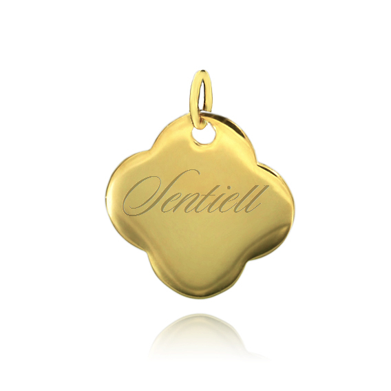 Silver (925) flat charm for bracelets  - gold plated four leaf clover