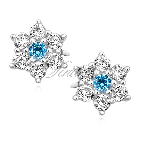 Silver (925) flower earrings with aquamarine zirconia
