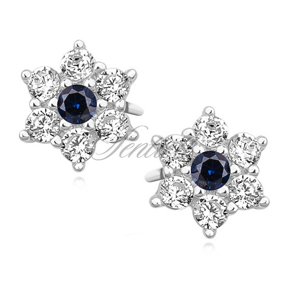 Silver (925) flower earrings with sapphire zirconia