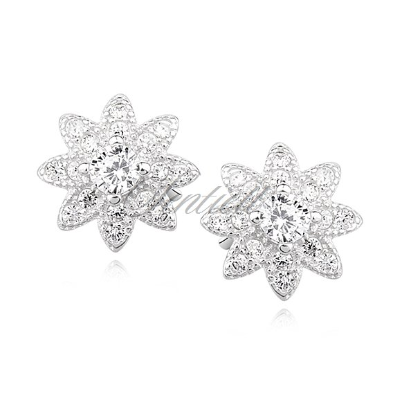 Silver (925) flower earrings with zirconia