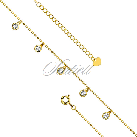 Silver (925) gold-plated anklet - adjustable size - round pendant with zirconia