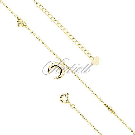 Silver (925) gold-plated anklet - adjustable size with moon and star pendant