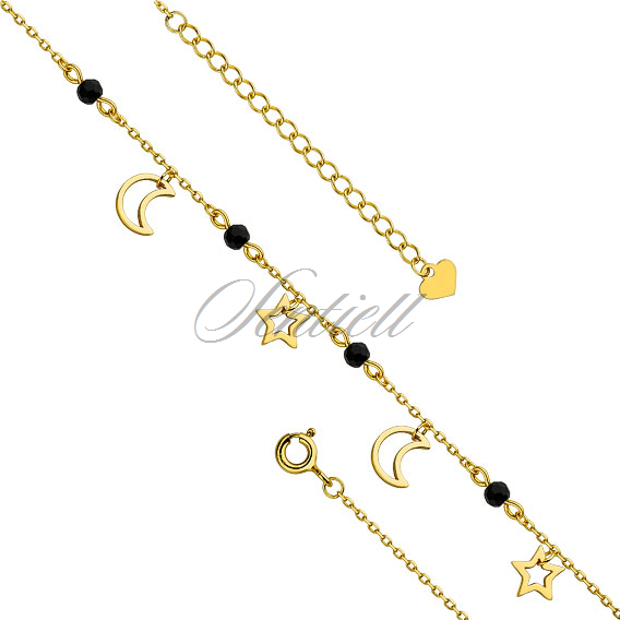 Silver (925) gold-plated anklet - adjustable size with star and moon pendants