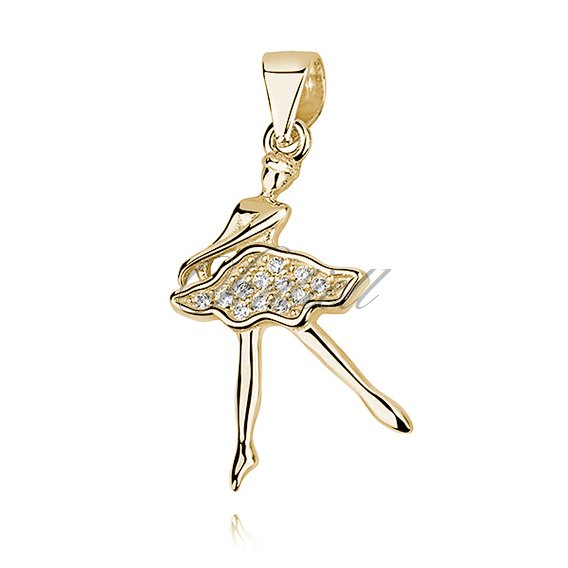 Silver (925) gold-plated ballerina pendant with zirconia