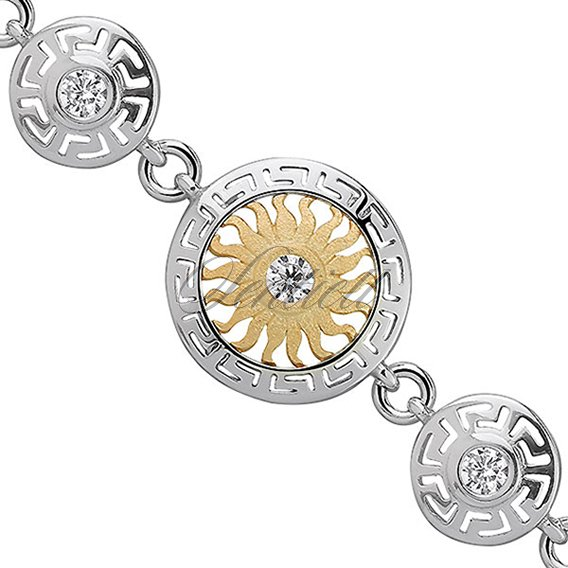 Silver (925) gold-plated bracelet - sun with zirconia