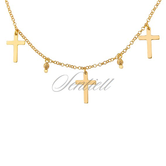 Silver (925) gold-plated choker necklace with crosses