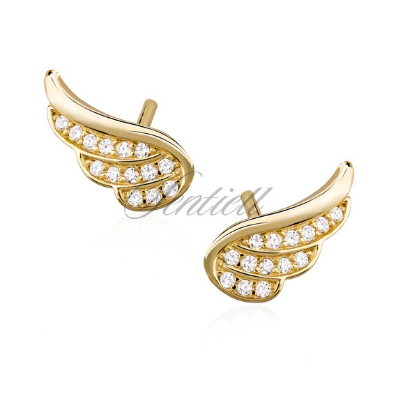 Silver (925) gold-plated earrings - wings with zirconia
