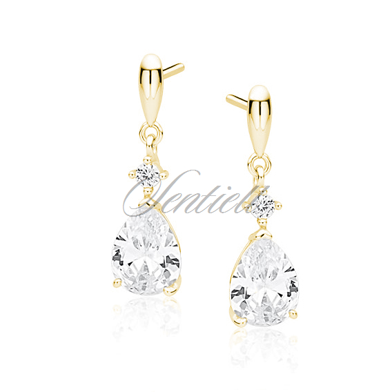 Silver (925) gold-plated earrings with white zirconia - teardrop