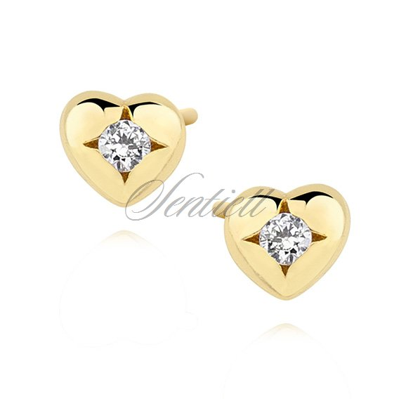 Silver (925) gold-plated heart shape earrings with zirconia