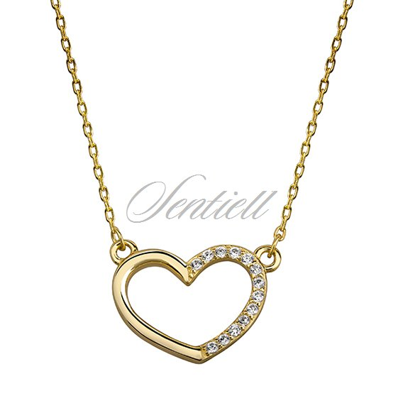 Silver (925) gold-plated necklace - heart with zirconia