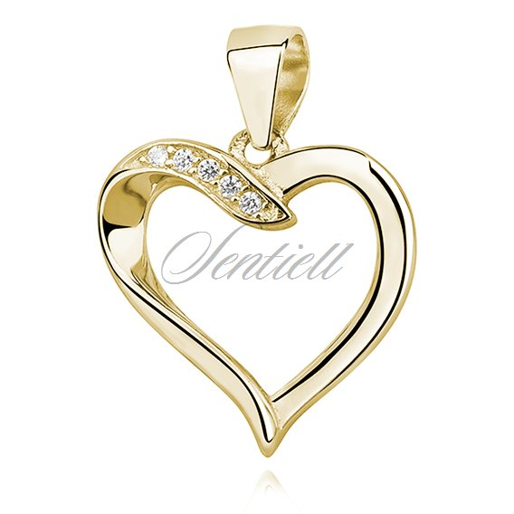 Silver (925) gold-plated pendant - heart with zirconia