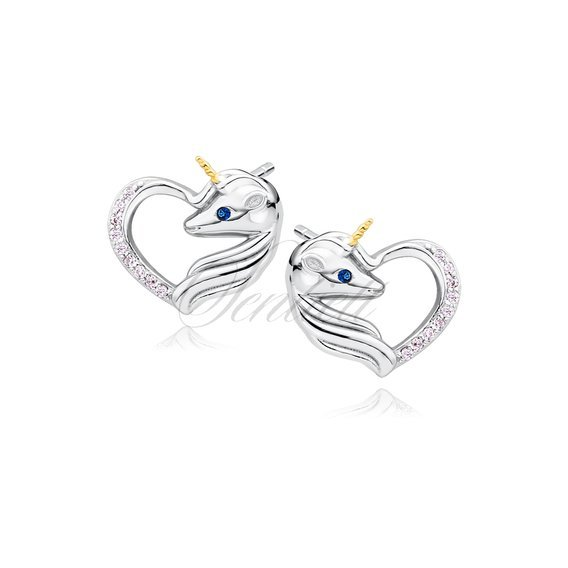 Silver (925) heart earrings - unicorn with light pink zirconia and sapphire eye