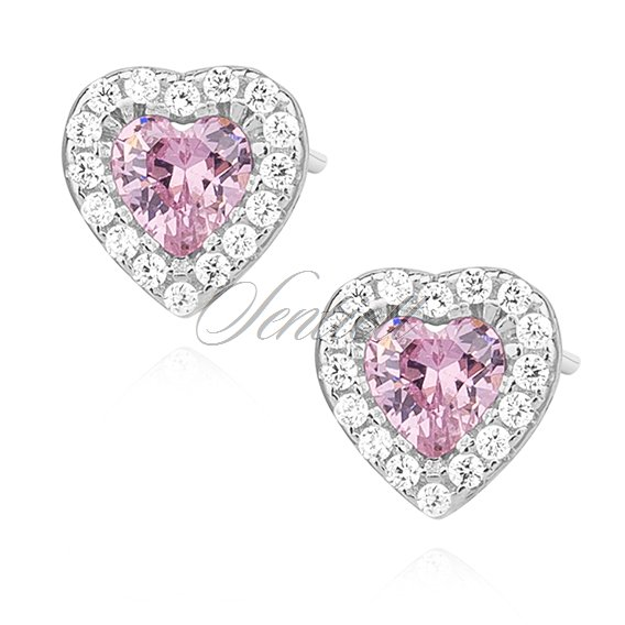 Silver (925) heart earrings with light pink zirconia