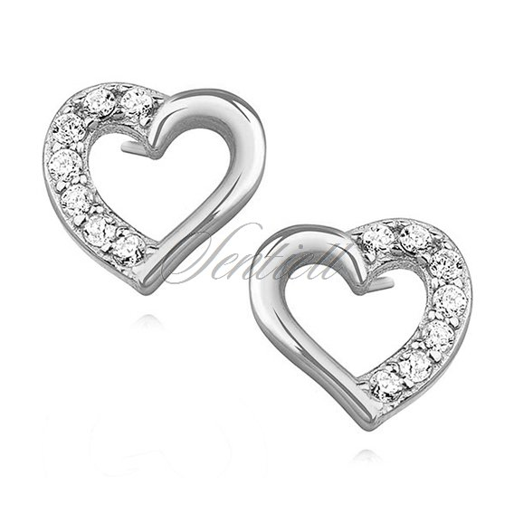 Silver (925) heart earrings with zirconia