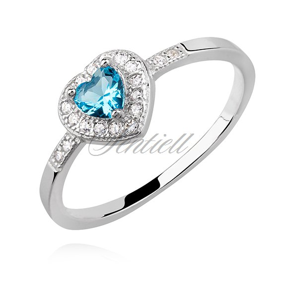 Silver (925) heart ring with aquamarine zirconia
