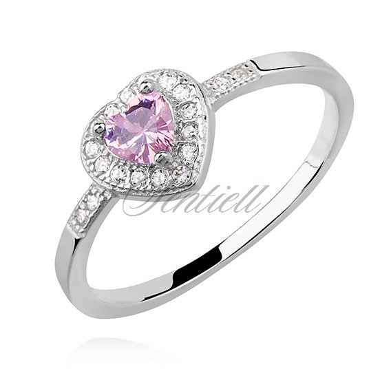 Silver (925) heart ring with light pink zirconia