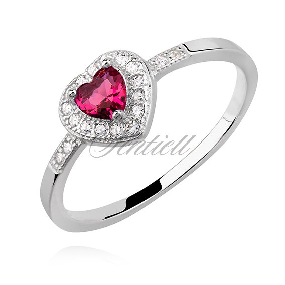 Silver (925) heart ring with ruby zirconia