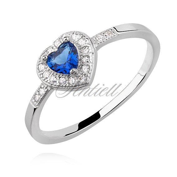 Silver (925) heart ring with sapphire zirconia