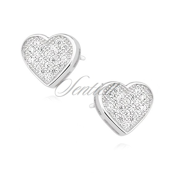 Silver (925) hearts earrings with zirconia