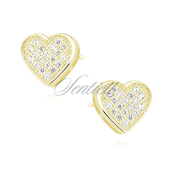 Silver (925) hearts earrings with zirconia yellow gold plated