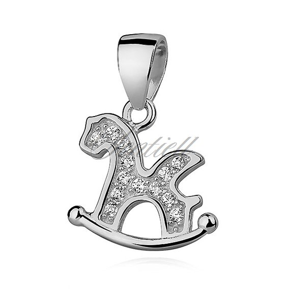 Silver (925) horse pendant with zirconia