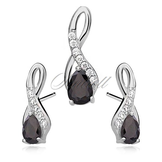 Silver (925) jewelry set - black drop adorned with white zirconia