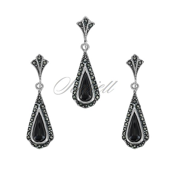 Silver (925) jewelry set (earrings and a pendant) marcasites and onyx
