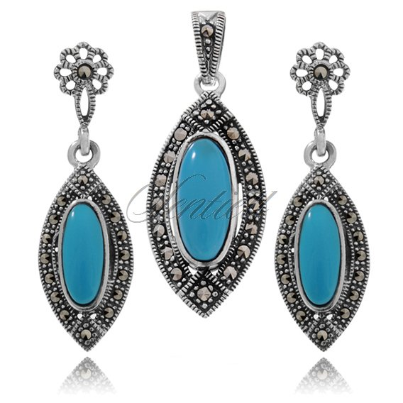 Silver (925) jewelry set (earrings and a pendant) turquoise and marcasites