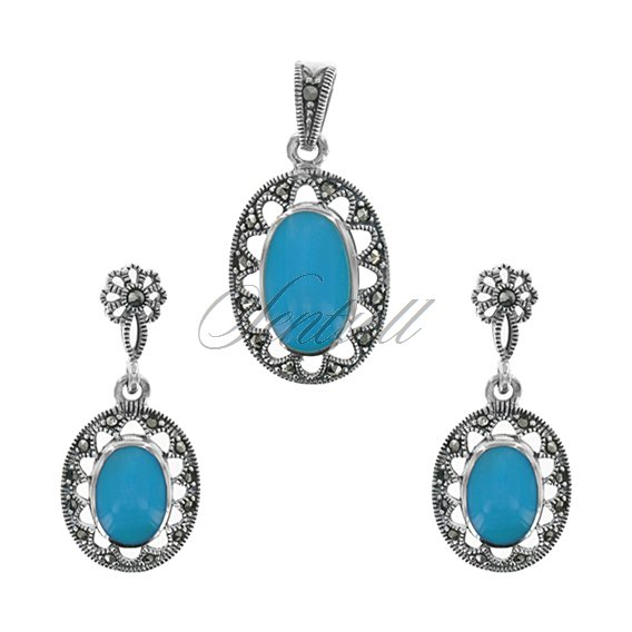 Silver (925) jewelry set (earrings and a pendant) turquoise marcasites