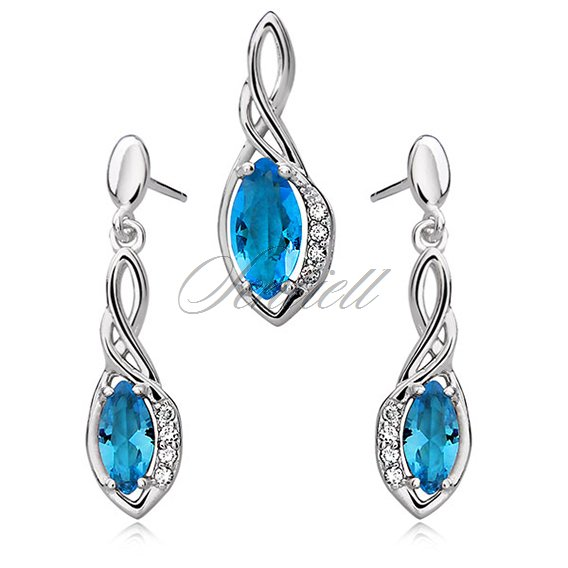 Silver (925) jewelry set - elegant, aquamarine marquis wrapped in silver