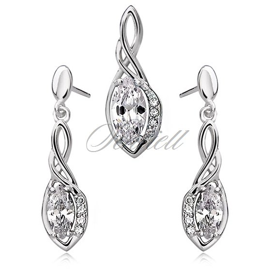 Silver (925) jewelry set - elegant, white marquis wrapped in silver
