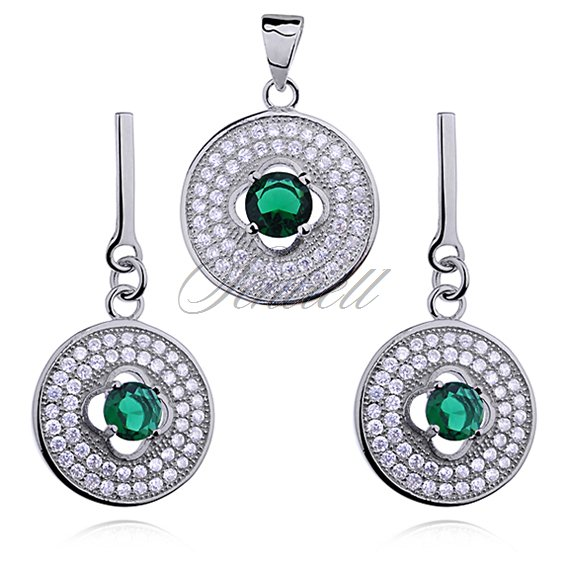 Silver (925) jewelry set emerald color zirconia