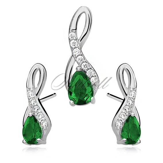 Silver (925) jewelry set -  emerald drop adorned with white zirconia