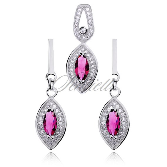 Silver (925) jewelry set ruby color zirconia