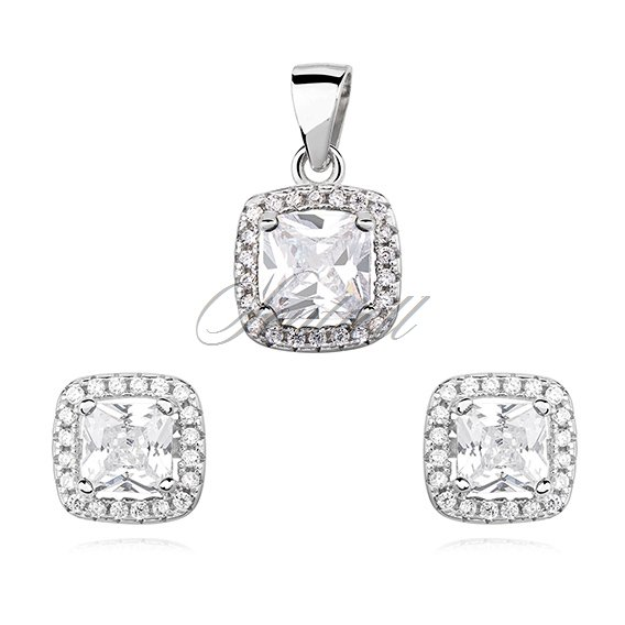 Silver (925) jewelry set white zirconia