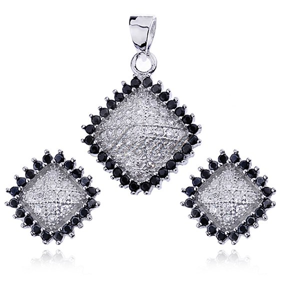 Silver (925) jewelry set zirconia