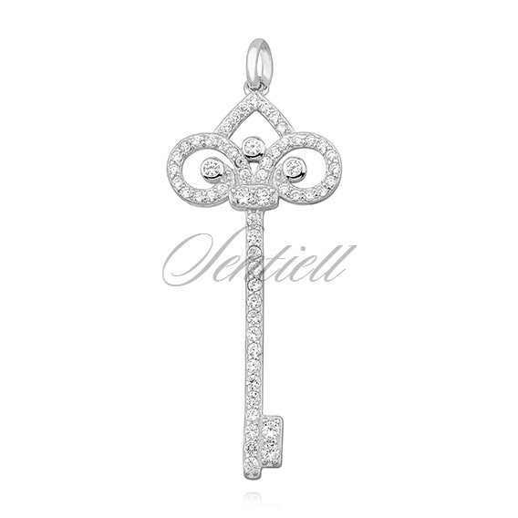 Silver (925) key pendant with zirconia