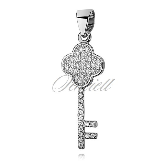Silver (925) key pendant with zirconia - clover