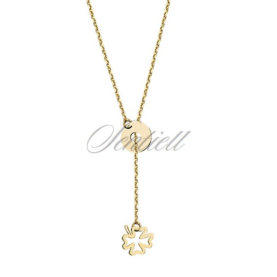 Silver (925) lariat necklace with clover and circle, gold-plated
