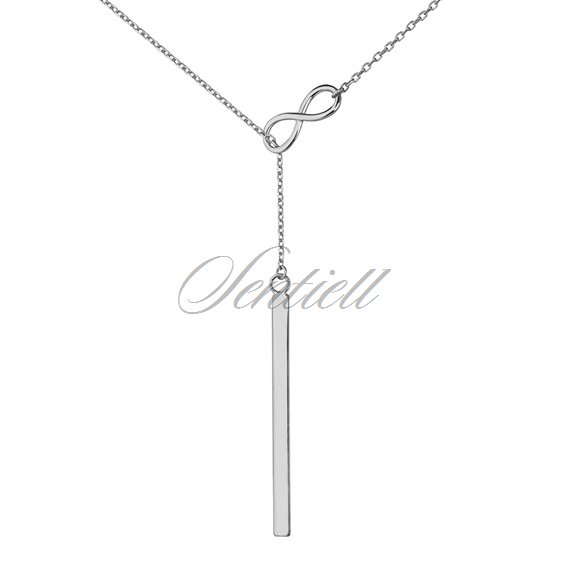 Silver (925) lariat necklace with infinity and rectangle pendant
