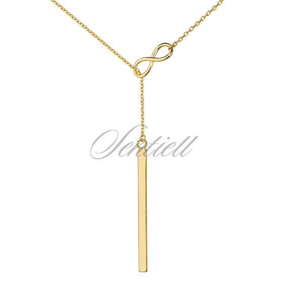 Silver (925) lariat necklace with infinity and rectangle pendant - gold plated